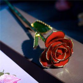 黛雅玫瑰花橘红色 七夕创意情人节礼物 24K镀金玫瑰花  送包装 厂家直销