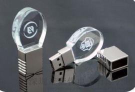 水晶U盤 usb定制 發光水晶優盤可內雕LOGO 創意年會禮品U盤8g16g