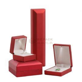 中国红高光亮漆喷油LED灯盒戒指吊坠项链手链手镯首饰盒