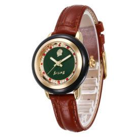 和田青玉真皮带手表防水石英女手表