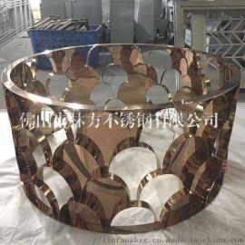 304鏡面/磨砂玫瑰金茶幾 圓形不鏽鋼茶幾底座加工