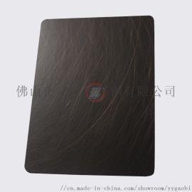 佛山高比304不锈钢镀铜板 手工乱纹红古铜(发黑)