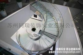 现代玻璃楼梯制作-玻璃旋转楼梯安装