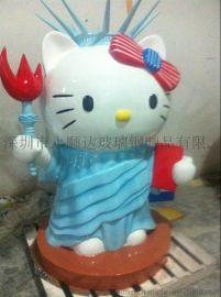 批发玻璃钢KT猫雕塑 玻璃钢卡通人物雕塑