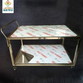 金彩移动工具车双层 不锈钢手推车 厨房置物架 多功能移动工作台