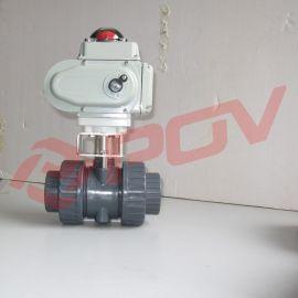 塑料电动球阀开关型DC24V 75规格 可过酸碱等介质