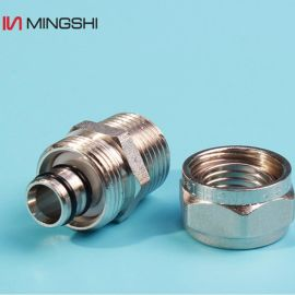 PERT管件铝塑管卡套接头外牙直通S16*1/2M