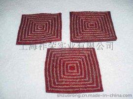 串珠餐垫 米珠餐垫 玻璃珠餐垫 贝壳钉珠餐垫 纸绳编织餐垫