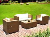 PE藤休闲桌椅 花园藤沙发