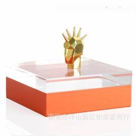 橙色长方形亚克力金色人头合金首饰盒饰品欧式创意客厅卧室摆件