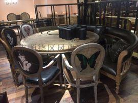 主題餐廳弧形U型實木油蠟皮沙發  咖啡廳西餐廳高背半圓卡座 尺寸可定制