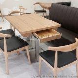 供应香港餐厅餐桌高档实木桌子带抽屉餐桌订做厂家直销