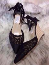 2014 华伦天奴(Valentino) 夏季爆款绑带蕾丝坡跟凉鞋1:1定制