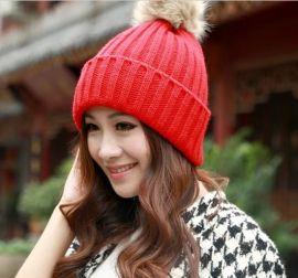 韩版**兔毛球针织保暖帽 保暖单色帽