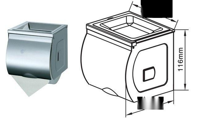 304**不锈钢小卷厕纸盒 洗手间带烟灰盖卷纸箱