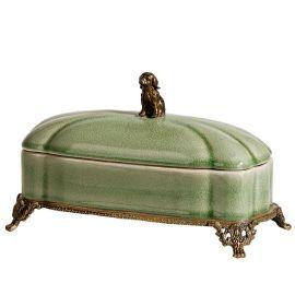 卡诗兰诺 欧式**陶瓷镶铜储物罐样板房软装盖盒工艺品装饰摆件