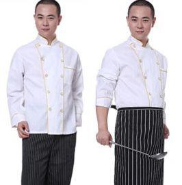新款春季西餐厨师工作服厨师服双排扣厨师长长袖制服可定制LOGO