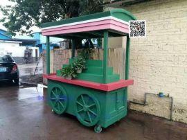 古镇实木售货车 纪念品售卖车 固定小吃手推车