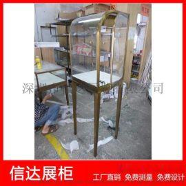 不锈钢弧形珠宝展览柜台产品陈列柜透明玻璃立式展示柜