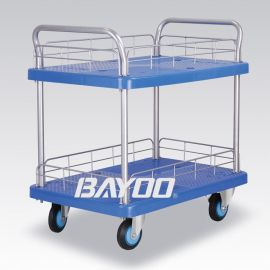 BAYOO(拜优)双层护栏式静音塑料手推车 平板手推车 静音小推车