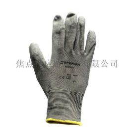霍尼韦尔Honeywell尼龙耐磨掌浸PU工作手套灰色手套2100250 9寸