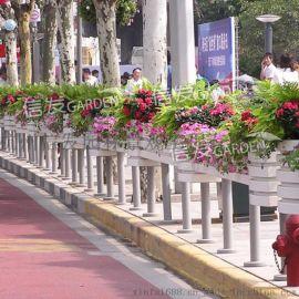 道路护栏立体绿化 长条组合花箱 花盆铝合金 pvc