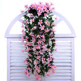 仿真花 假花装饰仿真壁挂吊兰花 吊篮花 绢花 百合花藤装饰