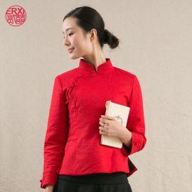 厂家直供二喜茶服中国风禅衣茶服茶馆工装中式棉麻汉服改良唐装