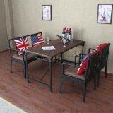 简约复古铁艺水管实木餐桌休闲酒吧西餐厅咖啡厅卡座沙发桌椅