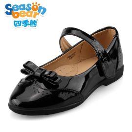 四季熊**黑白皮鞋2016新款英伦休闲皮鞋公主鞋**单鞋儿童皮鞋