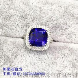 经典款式坦桑石女戒 方形坦桑石戒指批发13724356962