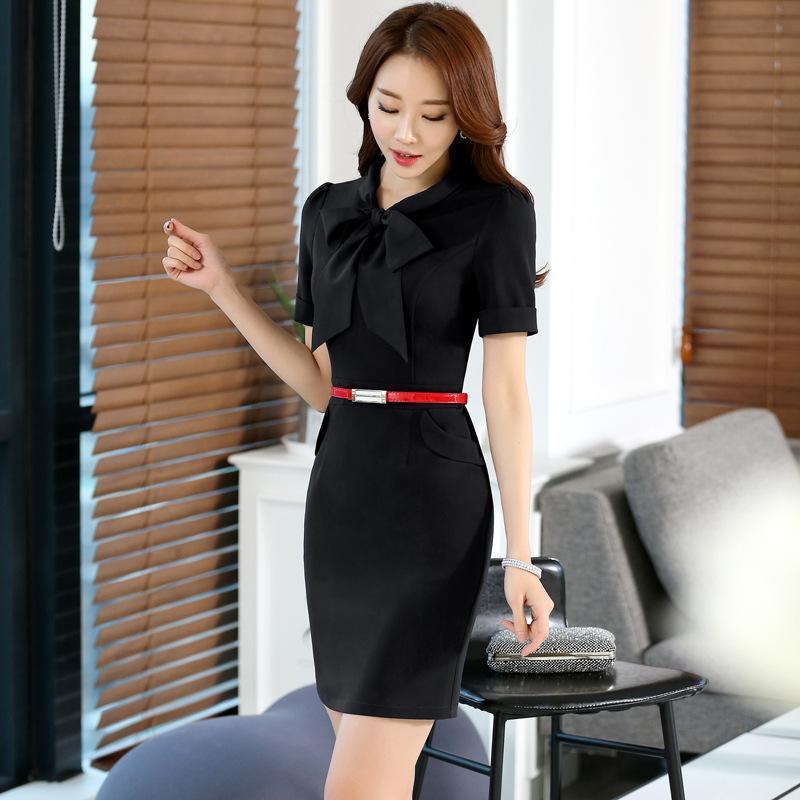 2017夏職業裝連衣裙女短袖OL修身顯瘦蝴蝶結工作服包臀一步裙工衣