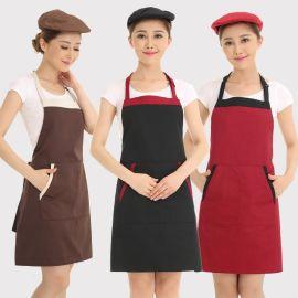 广告围裙厨师工作服围裙男女酒店餐厅超市服务员挂脖围裙定制logo
