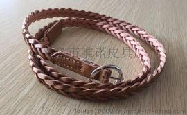 WN014棕色皮革编织腰带