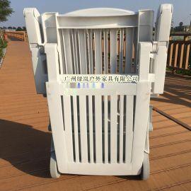 沈阳室内游泳馆休闲塑料躺椅白色加厚承重150KG折叠塑料躺椅
