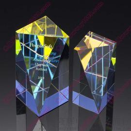水晶方体工艺品镀彩水晶纪念品斜面方块奖杯奖牌