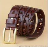 铜扣男士皮带时尚个性编制 腰带 牛皮皮带