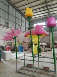 广场观赏大型玫瑰花 荷花雕塑玻璃钢假花模型