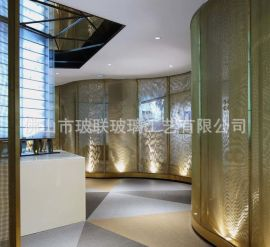 工艺玻璃屏风 隔断墙 夹丝 夹娟 双层 艺术玻璃