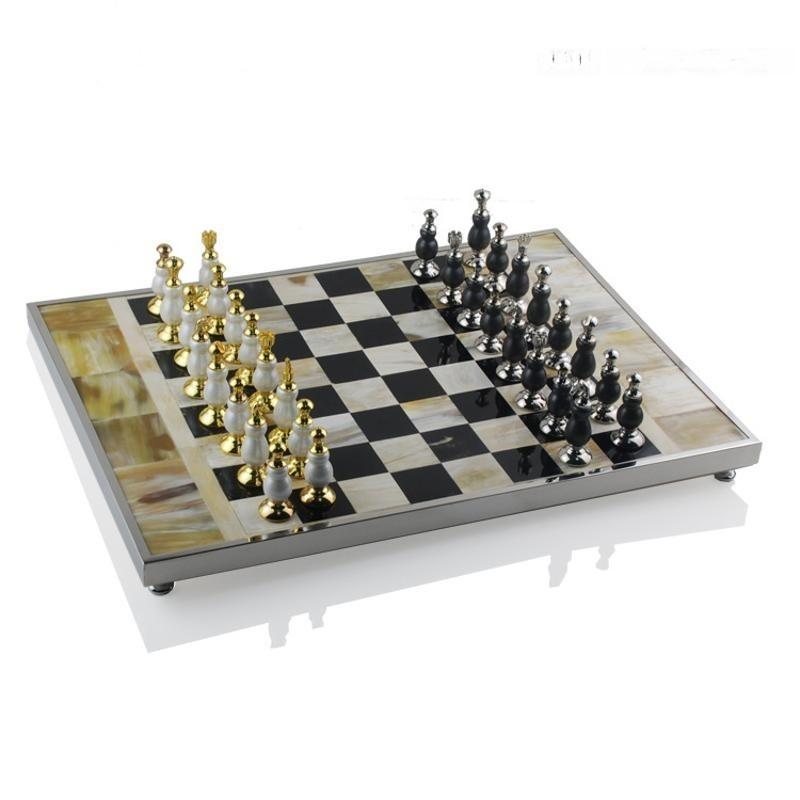 歐式長方形牛骨牛角國際象棋高端裝飾裝飾實木棋盤歐式樣板間擺件