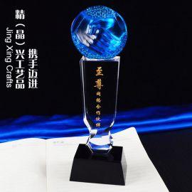 握手琉璃水晶獎杯 企業商務合作共贏紀念品定制