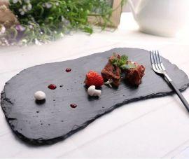 不规则西餐牛排盘创意板岩餐盘特色青石平盘西餐厅装饰品