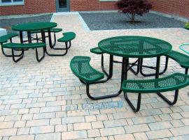 户外休闲桌椅景区公园游乐场室外铁艺连体桌椅可固定