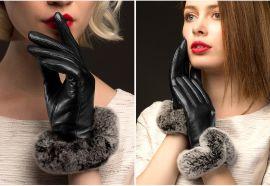 BOOUNI 真皮手套女触屏冬季保暖加绒开车骑车濑兔毛羊皮手套
