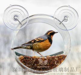 七彩雲有機玻璃圓形喂鳥器投食箱寵物箱透明戶外餵食盒