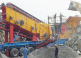 轮胎式移动破碎站 河卵石制砂机生产线