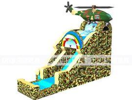 迷彩陆 航空兵直升飞机充气水滑梯
