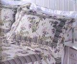 紫色花全棉水洗空調被/絎縫被三件套