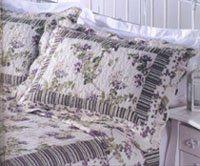 紫色花全棉水洗空调被/绗缝被三件套