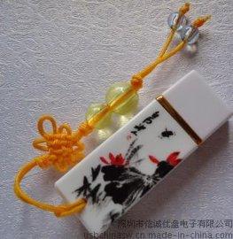 泼墨u盘 中国风 陶瓷礼品 个性usb随身碟